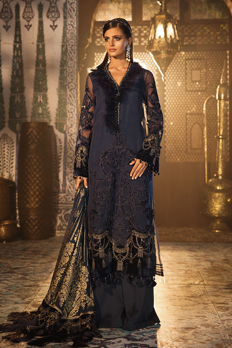 Maria B MBROIDERED BD-1803 - Chiffon Unstitched 3 Piece Suit 1