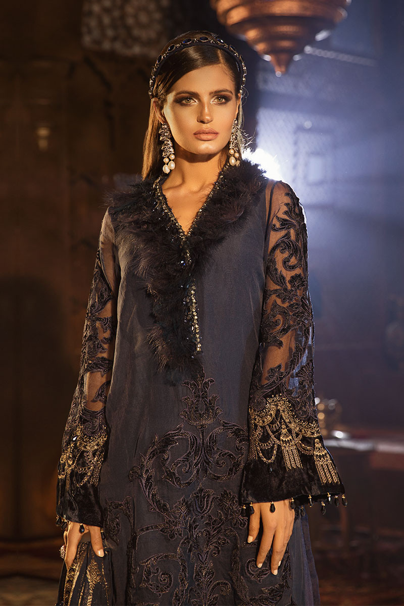 Maria B MBROIDERED BD-1803 - Chiffon Unstitched 3 Piece Suit