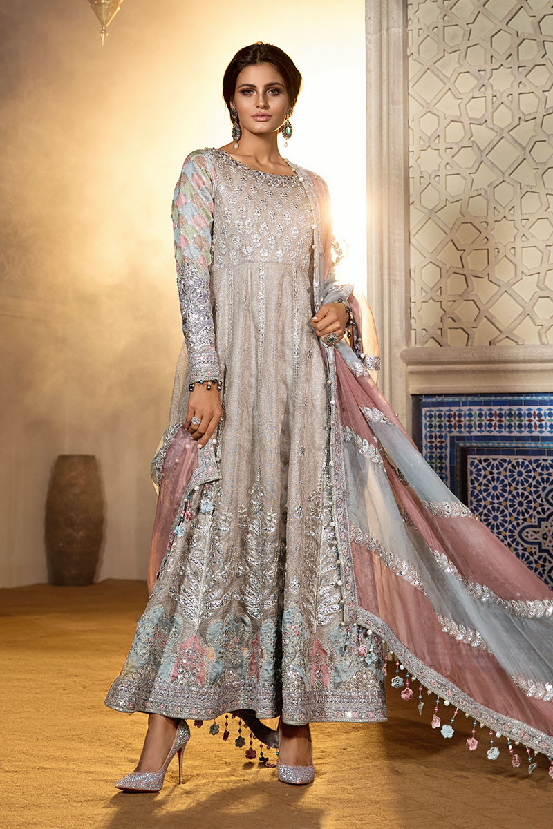 Maria B MBROIDERED BD-1805 Chiffon Unstitched 3 Piece Suit 1