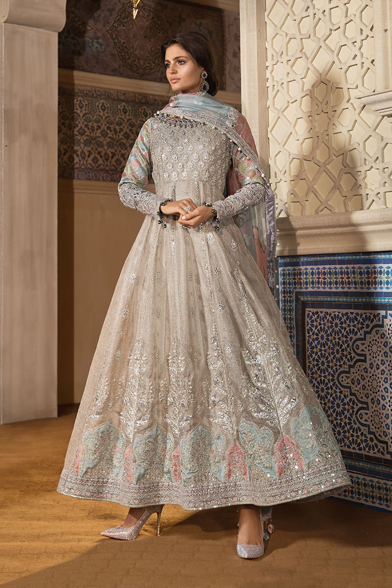 Maria B MBROIDERED BD-1805 Chiffon Unstitched 3 Piece Suit