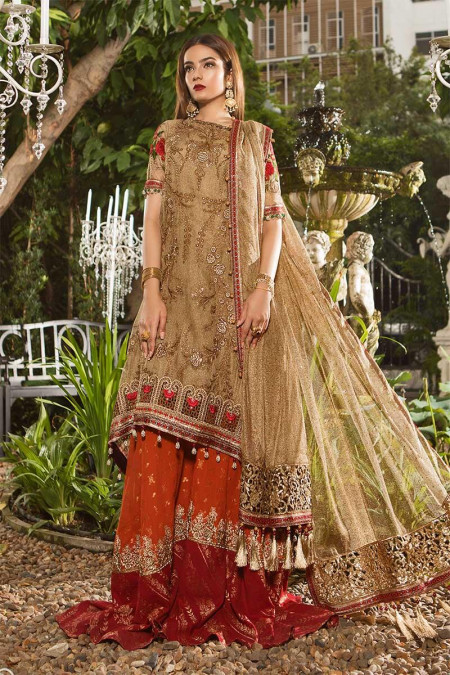 155b7d7abd Unstitched MBROIDERED - Glittery Gold & Maroon (BD-1606) ...