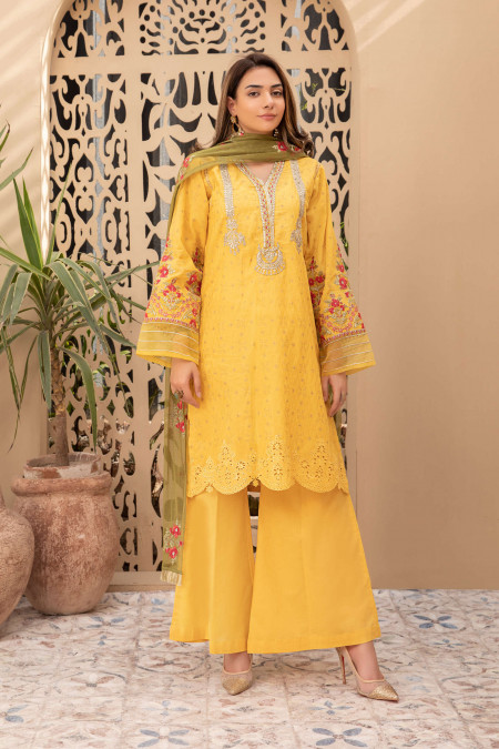 Maria B Suit Mustard DW-EF21-05 Casual Eid Collection 2021