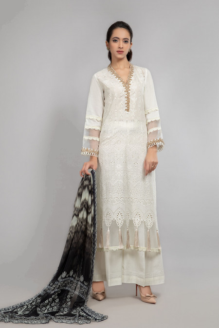 Maria B Suit Off White DW-SS21-14 Eid Casual