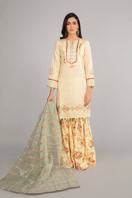 Maria B Suit Yellow DW-EA20-16 Eid Casual