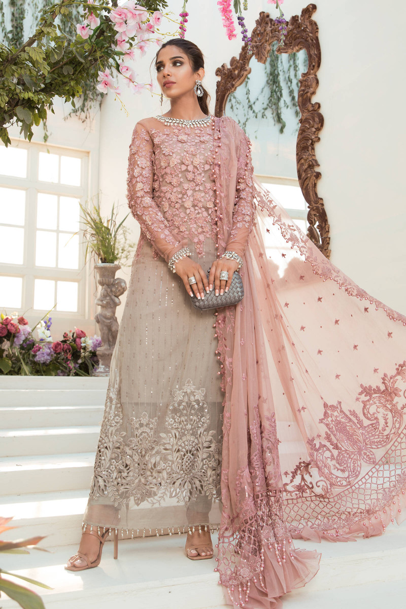 Maria B Coffee and Ash Pink BD-2101 Eid Collection
