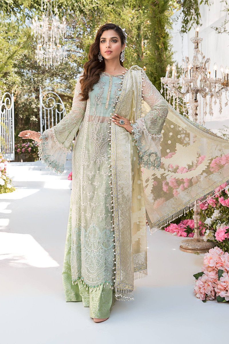 Maria B Sky blue, Mint green and Lemon BD-2102 Eid Collection