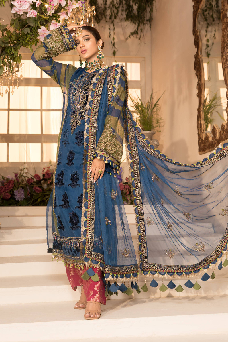 Maria B Blue Olive green with deep Coral Pink BD-2104 Eid Collection