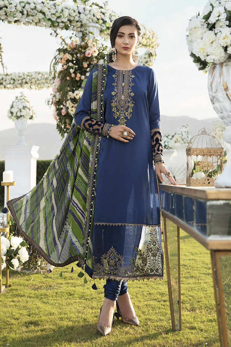 Maria B Online CST-301-Blue Sateen Collection 2020