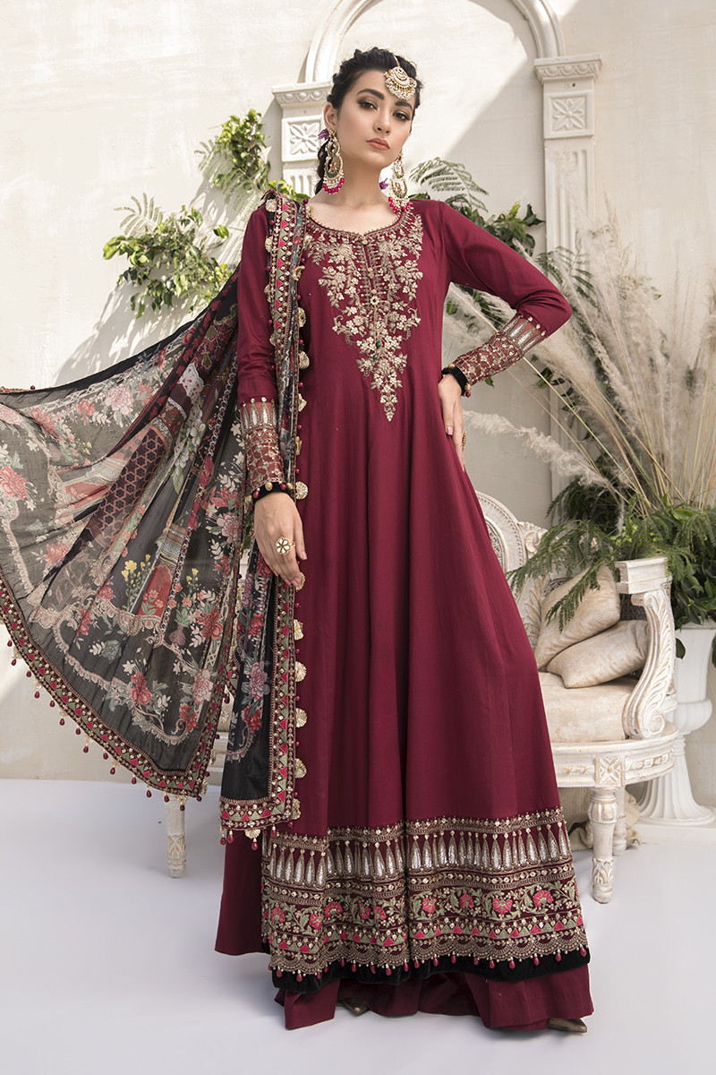Maria B Online CST-307-Maroon Sateen Collection 2020
