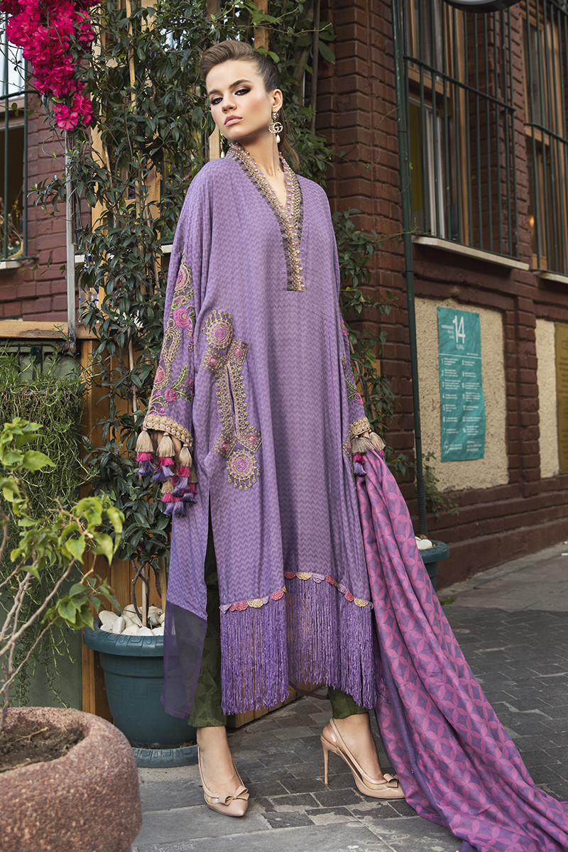 Maria B Online DL-803-Lilac Linen Collection 2020