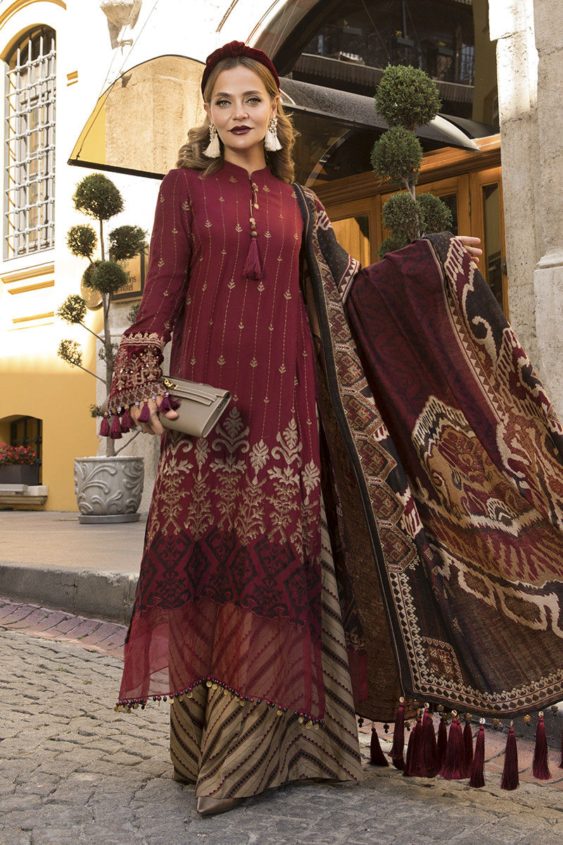 Maria B Online DL-807-Maroon and Beige Linen Collection 2020