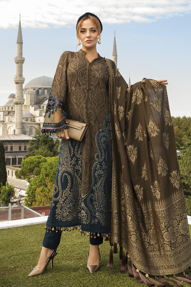 Maria B Online DL-810-Brown Linen Collection 2020