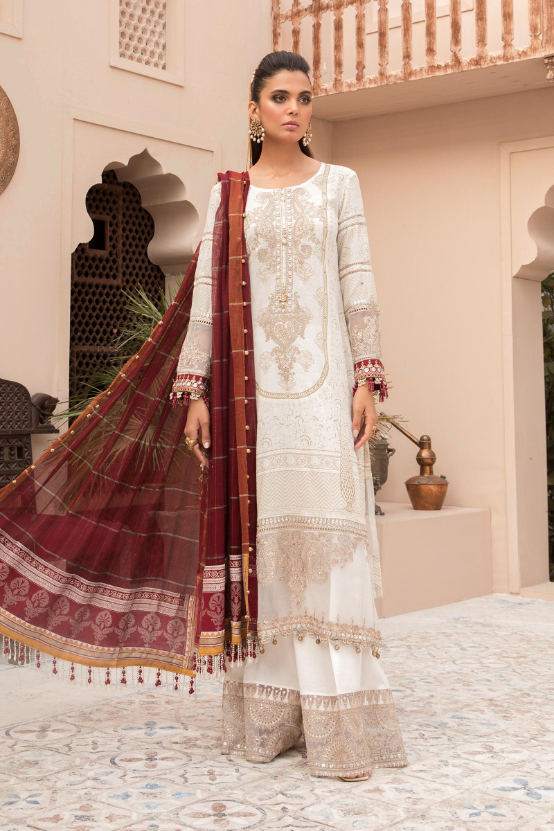 Maria B EL-21-01-Ivory White and Maroon Lawn Eid Collection