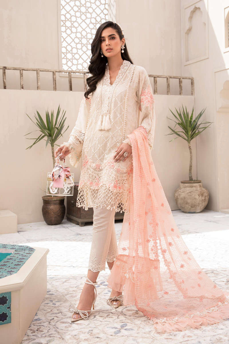 Maria B EL-21-05-Off White and Peach Lawn Eid Collection
