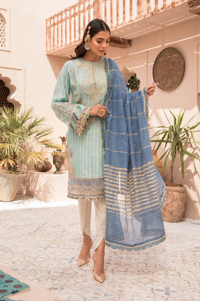 Maria B EL-21-07-Blue Lawn Eid Collection