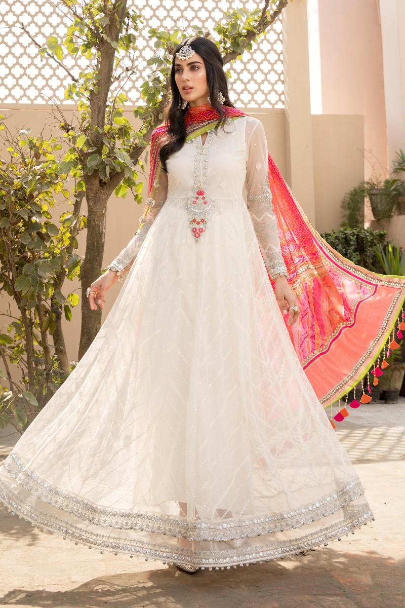 Maria B EL-21-08-White and Pink Lawn Eid Collection