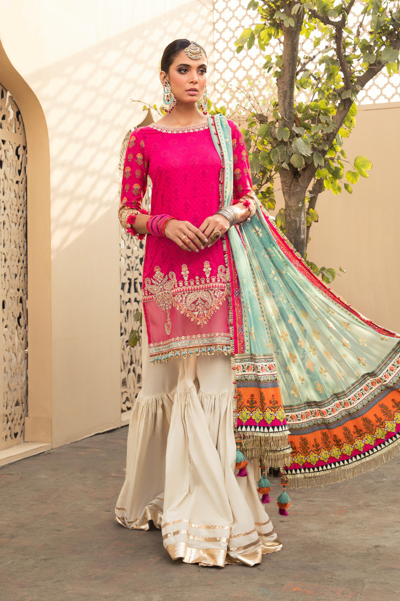 Maria B EL-21-10-Fuchsia Pink Lawn Eid Collection