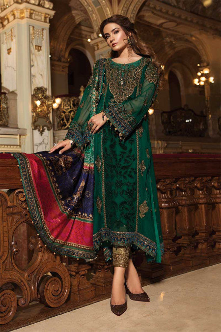 Unstitched MBROIDERED - Emerald Green & Teal (BD-1501)