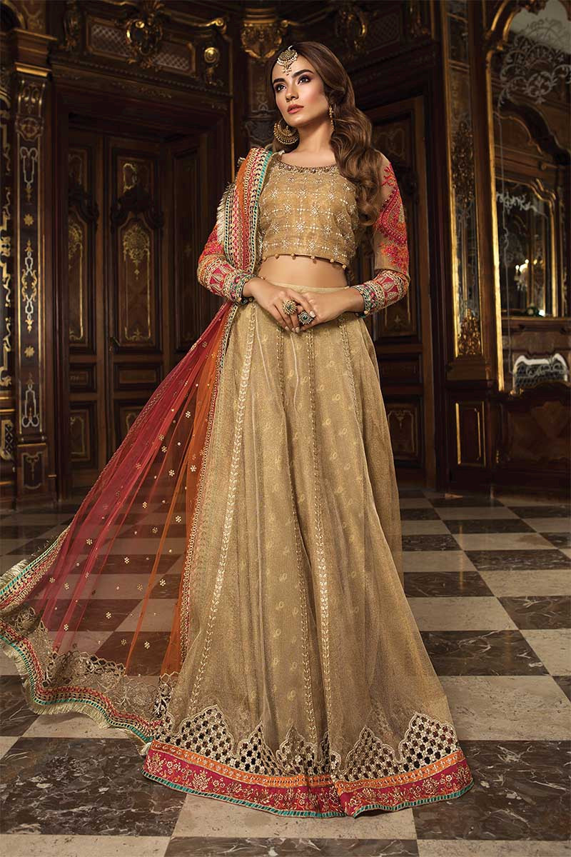 Unstitched MBROIDERED - Gold & Coral (BD-1505)