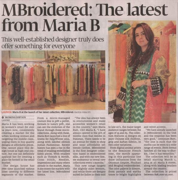 Maria B - The Express Tribune - 1 March 2014