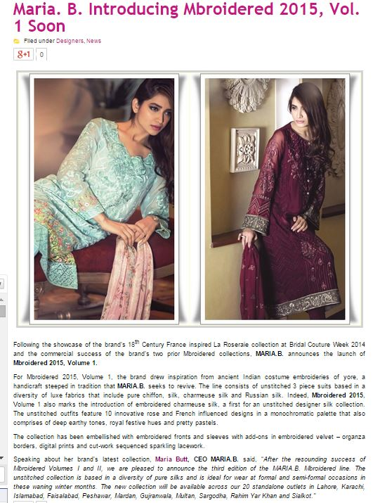 MARIA.B. - Fashioncentral.pk - 4th February 2015
