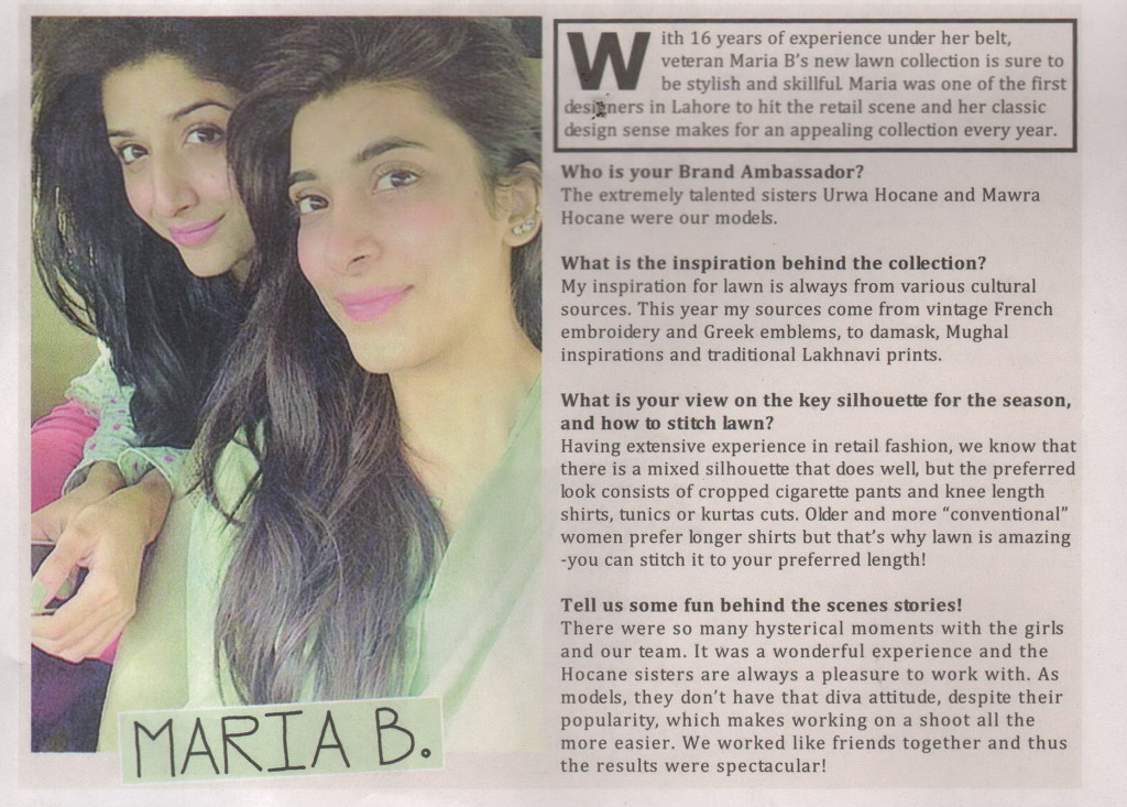 Maria B - Daily Times Sunday - 22 February - 28 February2015