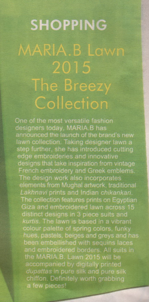 Maria B - Mag The Weekly - 28 March - 3 April 2015