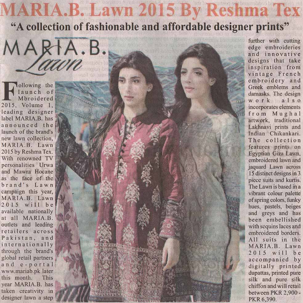 Maria B - Pakistan Observer - 15 March 2015