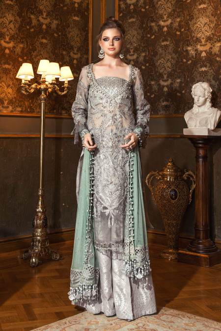 Unstitched MBROIDERED - Silver Grey (BD-2005)
