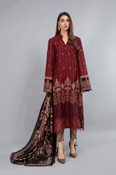 Suit Maroon and Beige DLS-807