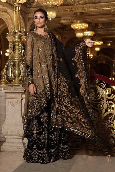 Unstitched MBROIDERED - Oxidized Gold & Black (BD-1508)