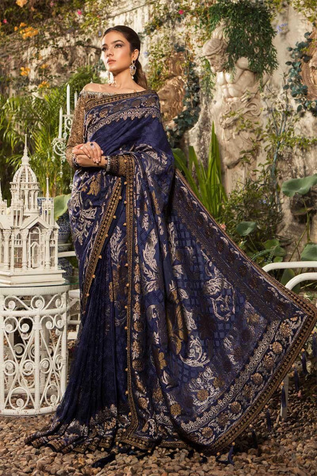 Unstitched MBROIDERED - Deep Sapphire and Burnt Gold (BD-1601)