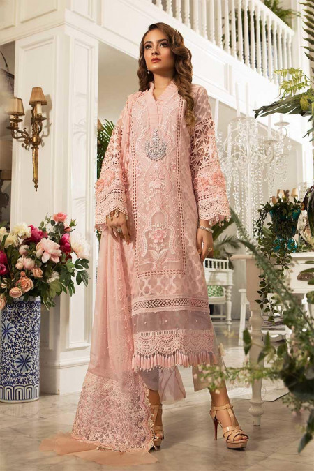 Unstitched MBROIDERED - Peachy Pink (BD-1602)