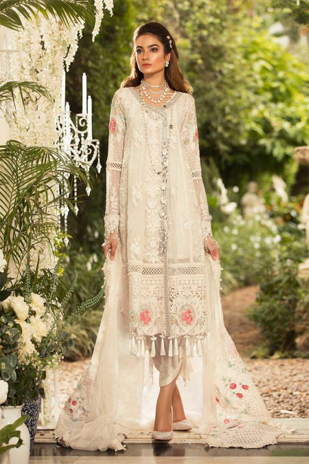 Unstitched MBROIDERED - Pearl White (BD-1604)