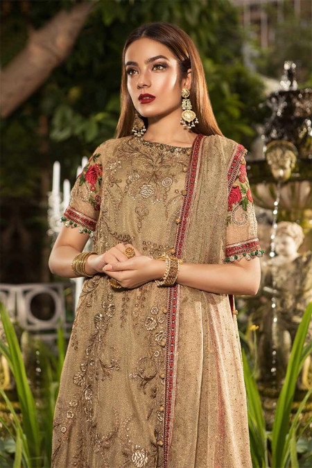 Unstitched MBROIDERED - Glittery Gold & Maroon (BD-1606)