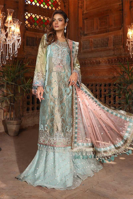 Unstitched MBROIDERED - Powder Blue & Coral (BD-1705)