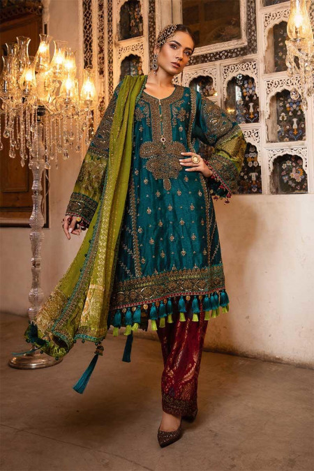 Unstitched MBROIDERED - Teal, Green & Deep Ruby (BD-1706)