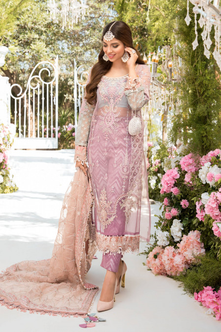 Unstitched MBROIDERED - Shades of Lilac Pink and Blue grey (BD-2105)
