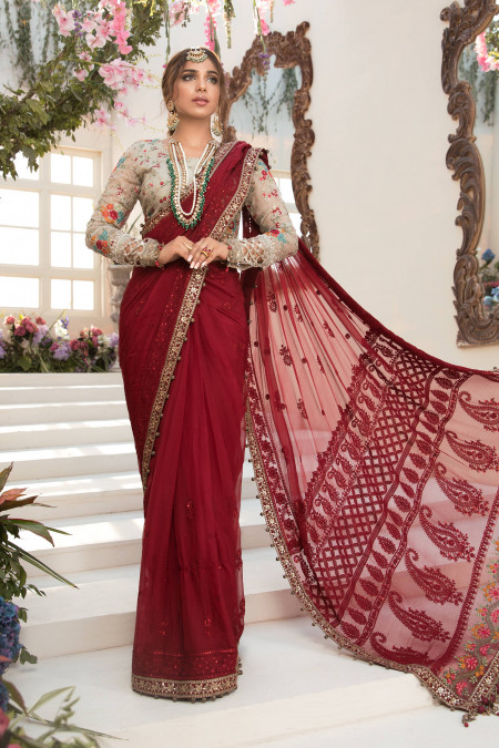 Unstitched MBROIDERED - Deep red and Beige (BD-2107)