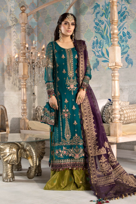 Unstitched MBROIDERED - Teal blue, Olive Green and Purple (BD-2202)