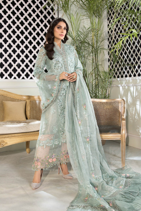 Unstitched MBROIDERED - Sky blue and Peach (BD-2206)