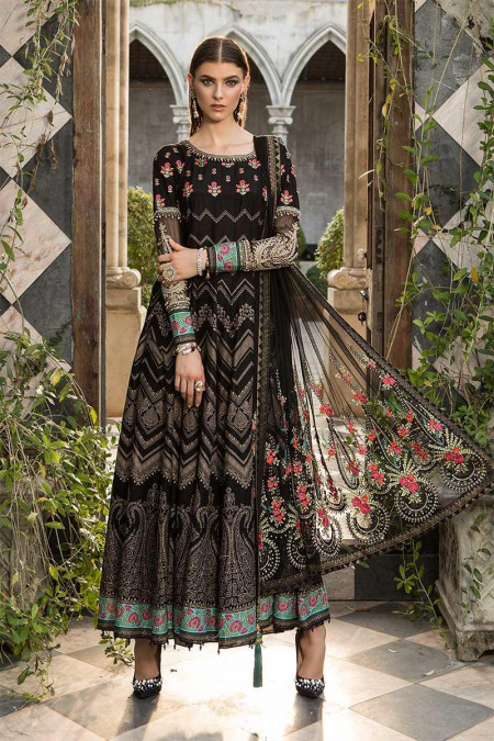 Unstitched Fabrics/Lawn D-609-Black