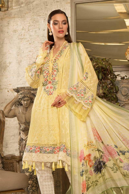 Unstitched Fabrics/Lawn D-610-Yellow