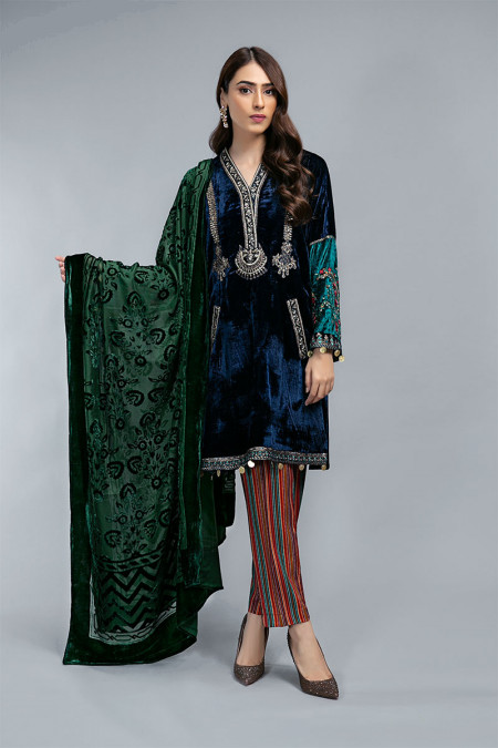 Suit Navy Blue and Green DLS-711