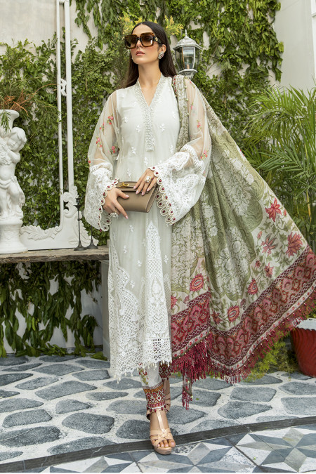 Unstitched Lawn | EL-20-02-Cream with Rose Buds