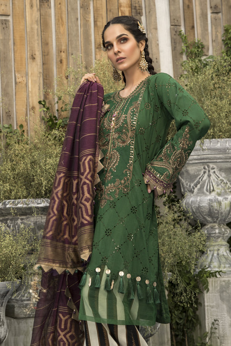 Unstitched Lawn | EL-20-07-Emerald Green