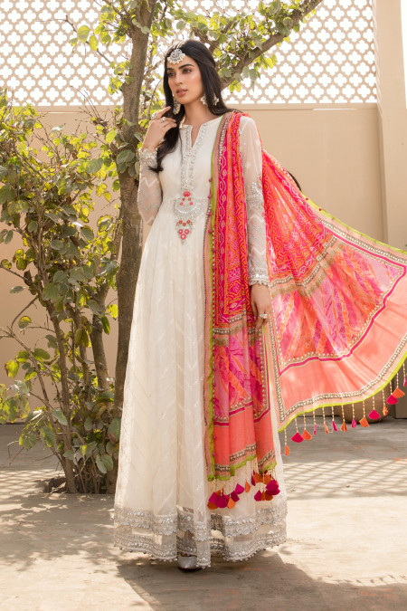 Unstitched Lawn EL-21-08-White and Pink