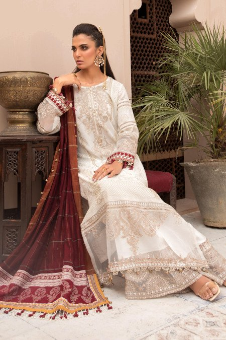 Unstitched Lawn EL-21-01-Ivory White and Maroon