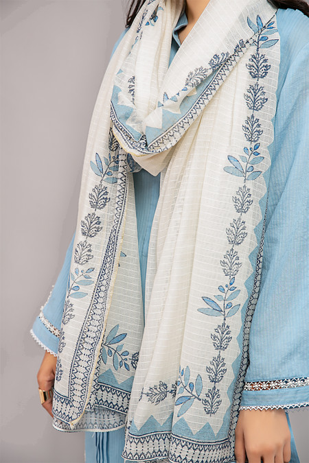 Scarf Dupatta - MG-W20-41-Off White