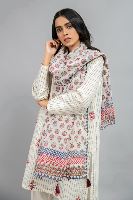 Scarf Dupatta - MG-W20-54-Off White